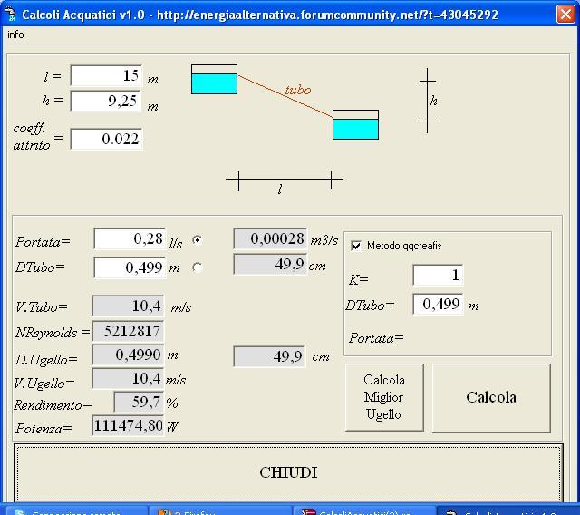 Calcolo portata acqua di un tubo dispositivo arresto - Calcolo portata da pressione e diametro ...
