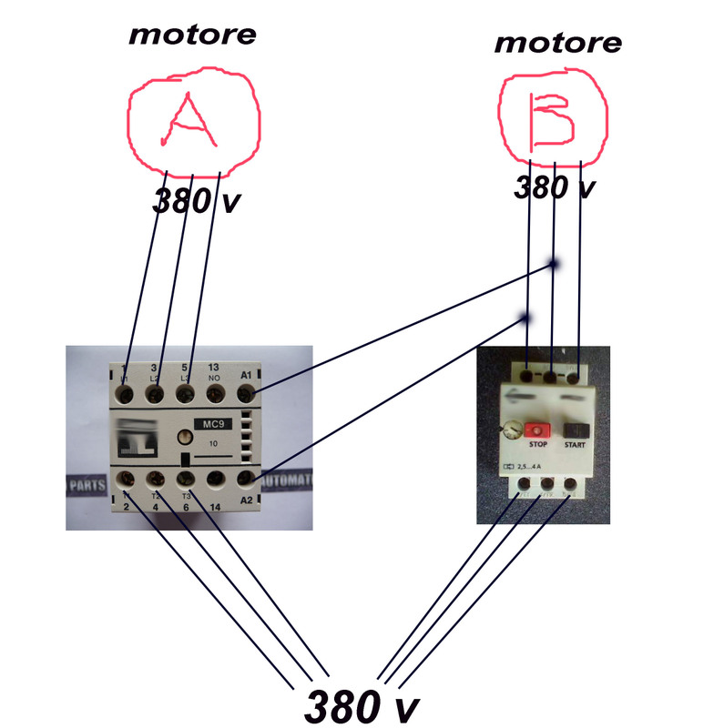 Schema Elettrico Marcia Arresto : Teleruttore salvamotore pagina sezione generica